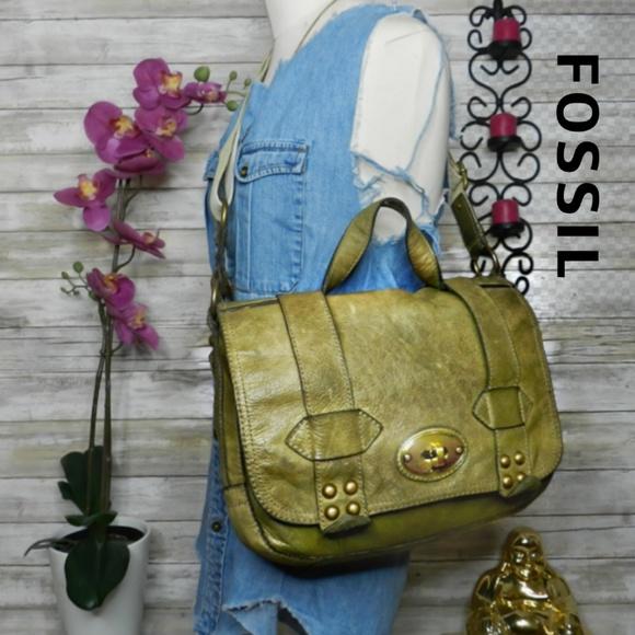 58aa38301c Fossil Bags | Large Green Leather Crossbody Messenger Bag | Poshmark